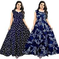 Gorangani Women's Anarkali Maxi Gown (Pack of 2) (ComboGW1089 XXL_Multicolored_XX-Large)
