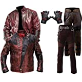 e Genius Men Guardians of The Galaxy Vol. 2 Star-Lord Chris Pratt Real and Faux Leather Maroon Leather Jacket - Distressed Le