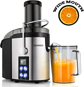 Juicer, GEARGO Juice Extractor with 75mm Wide Mouth, Newest LED Display and 4 Speed Centrifugal Juicer, 800W Power Juicer Machine for Fruits and