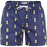 MaaMgic heren zwemshort FAST DRYING boardshort trainingsbroek met mesh voering en verstelbaar trekkoord, Marineblauwe ananas,