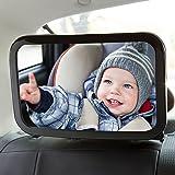 TOPELEK Miroir Voiture Rotatif à 360 °, Miroir Voiture Bébé Matériau Incassable, Rétroviseur Arrière Miroir de Voiture Compatible la Plupart Modèle de Siège, 30×19 cm, pour Enfants Surveillant