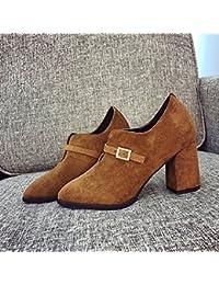 Popelina Acentuada con Hebilla de Moda Botas de Tacón Alto Botas sin Pechera , marrón , EUR37