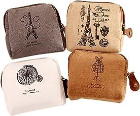 BIGBOBA Mini Leinwand Leinen Geldbörse für Damen Brieftasche Münztüte Tasche Halter Kleine Nette Aufbewahrungstasche für Schlüssel, Headset, Lippenstift, Karte