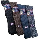 6 Pairs Mens Long Length Chunky 30% Wool Blend Boot Hiking Walking Socks/UK Size 6-11 Eur 39-45