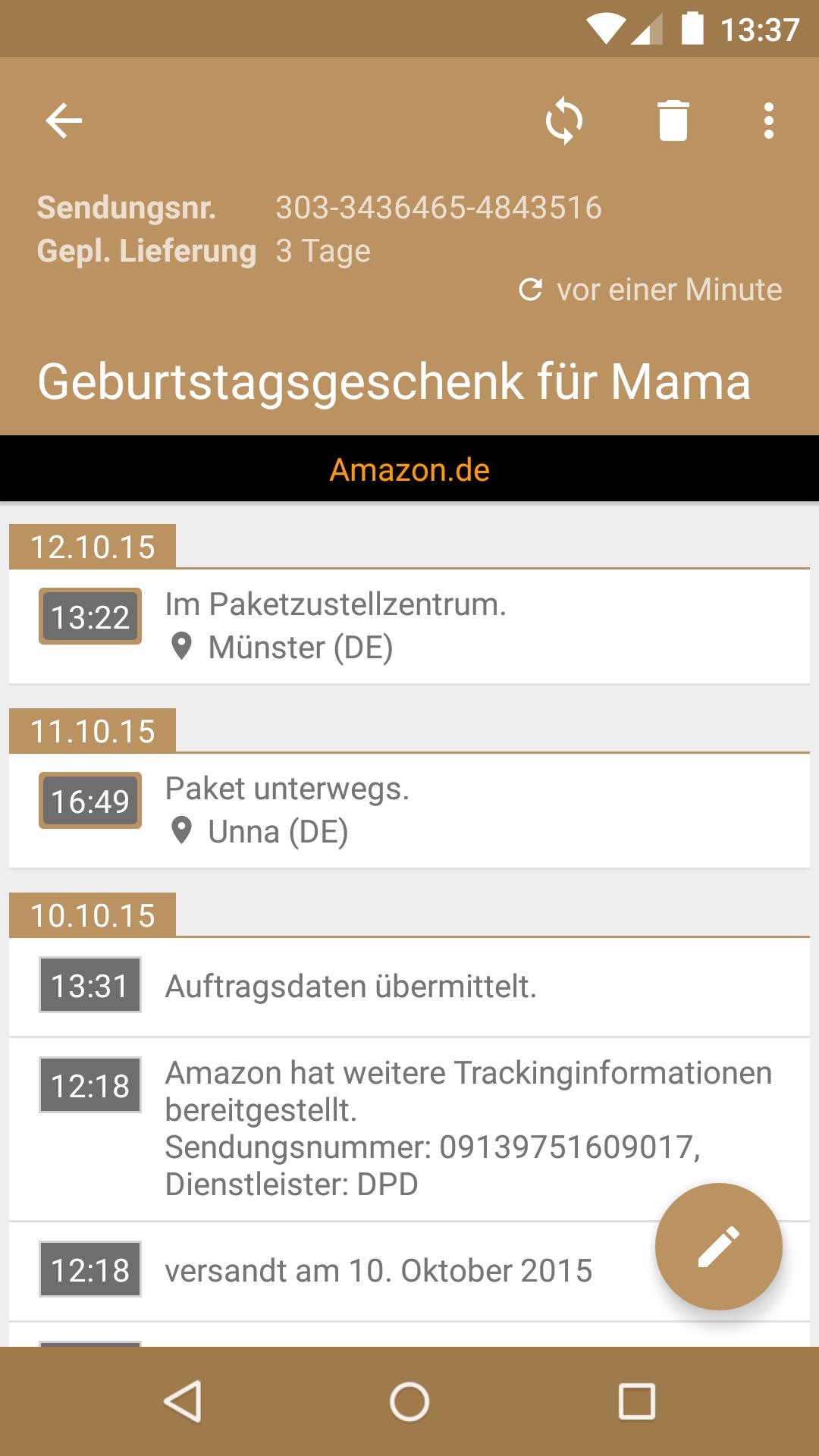 Sendungsverfolgung Amazon