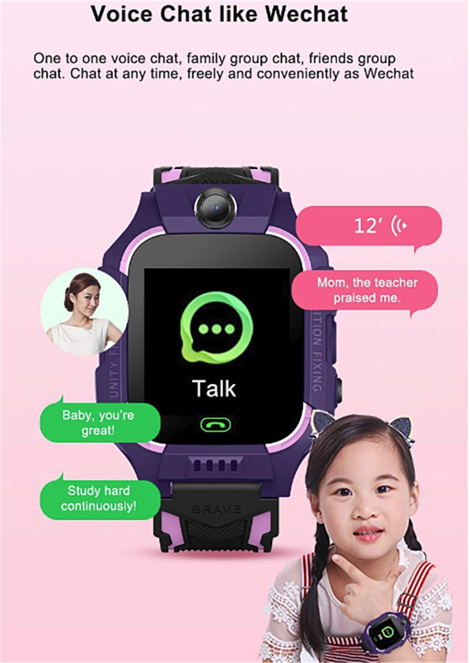 linyingdian Smartwatch Niños,Reloj Inteligente Niños con Flashlight, IP67 LBS SOS, Cámara, Smartwatch con Ranura para… 8