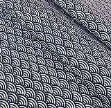 Tissu Sushis bleu indigo , motif Japonais vagues Seigaiha, VENDU PAR 50 CM