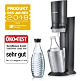 SodaStream Crystal 2.0, mit spülmaschinenfester Glasflasche für Ihr Sodawasser inkl. 1 Zylinder und 1 Glaskaraffe 0,6l Farbe: Titan/Silber, Gebürsteter Stahl, 130 cm