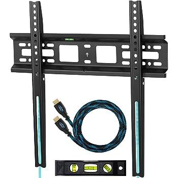 Cheetah Mounts APFMSB Supporto da Parete Ultrasottile per TV da 20 a 55 pollici; VESA fino a mm 420 x 400 e kg 52 Massimo. Un Cavo HDMI Twisted Veins da m 3. Una Livella Magnetica a Bolla a Tre Assi