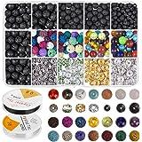 FOGAWA 606 PCS Lava Bead Set Rock Stone Chakra Beads de Colores Incluido Espaciador de Aleación de Zinc para la Fabricación d