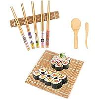 Elezenioc Kit à Sushi,9 Pièces Kit Sushi Maki en Bambou pour Débutant - 2 Assiettes de Tapis à Rouler, 5 Paires de…