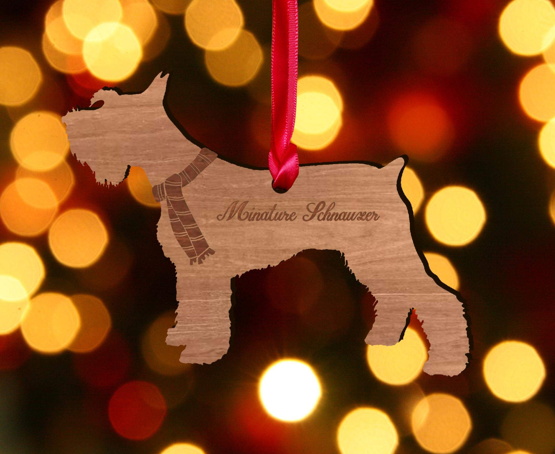 My Pretty Little Gifts Personalised Miniature Schnauzer Wooden Dog Decoration – Sustainable Oak Tree Bauble