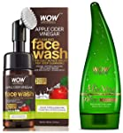WOW Organic Apple Cider Vinegar Foaming Face Wash with Built-In Brush - No Parabens, Sulphate and Si & WOW Aloe Vera...