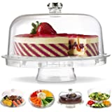 Gijaxe 3-in-1 Acrylic Cake Stand with Dome Cover Lid Multi-Functional Serving Platter and Cake Plate - Use as Cake Holder,Sal