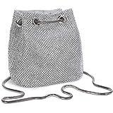 Damen Abendtasche Clutch Umhängetasche Kleine Pailletten Handtasche Schultertasche Kette Tasche für Hochzeit Party Disko - Si