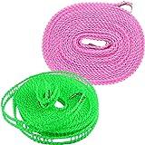 BSTHP Lot de 2 cordes à linge coupe-vent en plastique antidérapant pour extérieur, voyage, couleur aléatoire