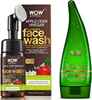 WOW Organic Apple Cider Vinegar Foaming Face Wash with Built-In Brush - No Parabens, Sulphate and Si & WOW Aloe Vera Multipurpose Beauty Gel for Skin and Hair, 130ml