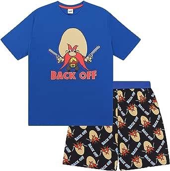 Looney Tunes Space Jam Taz Daffy Duck Elmer Fudd Official Mens Short Pyjamas