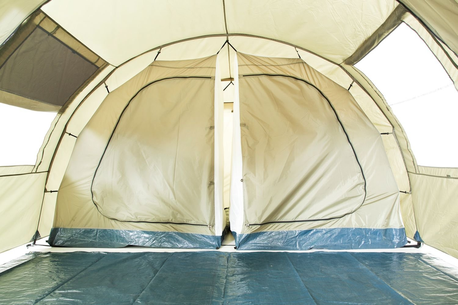 CampFeuer - Tunnel Tent with 2 Sleeping Compartments, Olive-Green, with Groundsheet and Movable Front Wall 7