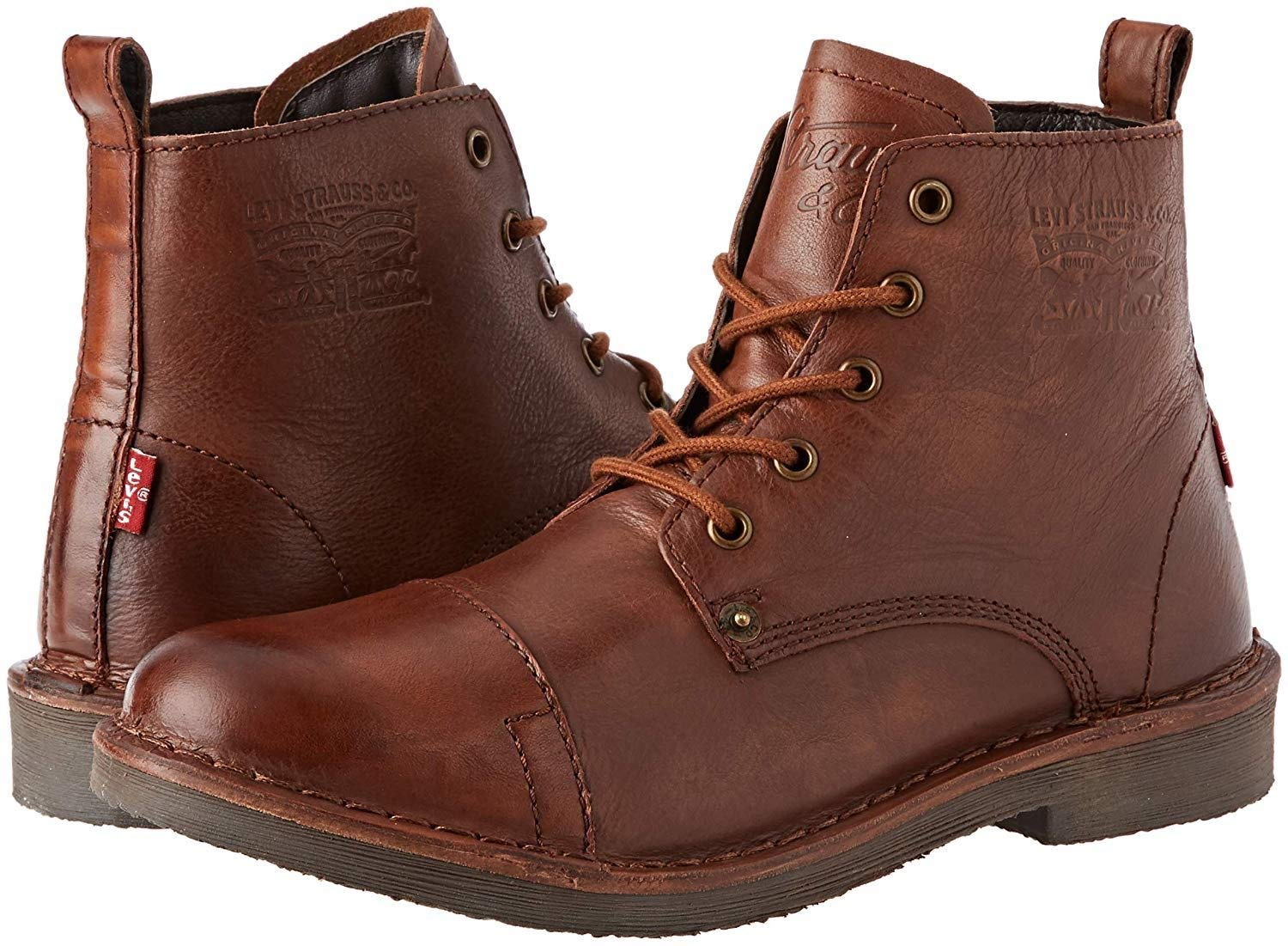 Levi's Track Brown Mens Leather Mid Ankle Boots