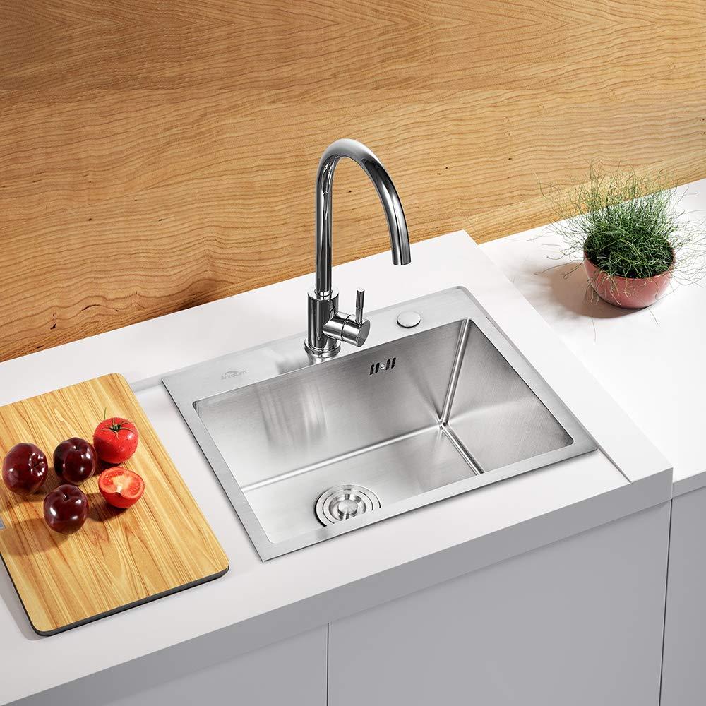 Auralum Lavello Cucina Incasso In Acciaio Inox 304 1 Vasca Con Filtro Per  Lavello Da Cucina (55×45×22cm)