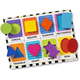 Melissa & Doug Shapes Chunky Puzzle (Preschool, Chunky Wooden Pieces, Full-Color Pictures, 8 Pieces, Great Gift for Girls and