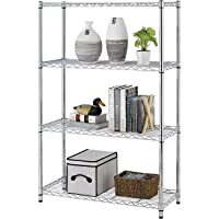 Callas Height Adjustable Shelf Rack Leveling Feet Chromium Steel Layer Shelf Organizer for Kitchen, Garage and Office (4-Shelf, Chrome)