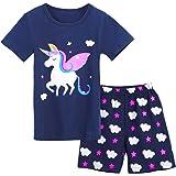 Bricnat Pijama para niña, de algodón, para primavera, verano, conjunto de pijama de manga corta, pijama de dos piezas