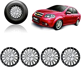 Auto Pearl - Premium Quality Car Full Wheel Cover Caps Silver and Black 14 Inches For - Chevrolet Aveo