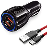 JOYSEUS 30W Dual USB CAR Mobile Charger QC 3.0 3.1A and Smart IC 3.1A with Type C Cable; Fast Charging Compatible with…