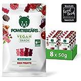 Powerbeärs Vegan Sugarfree Red Fruits | Vitamin B12 | Pomegranate, Cherry, Blackcurrant and Raspberry (8x50g)