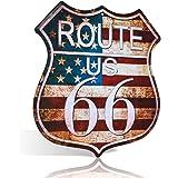 """Targa artistica in latta con scritta """"US Route 66"""" SHIELD"""", con scritta """"Man Cave, Bar, Garage in stile retrò"""