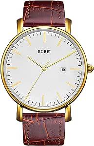 BUREI - Orologio da polso da uomo classico, ultra sottile, minimalista, quadrante analogico con data, movimento al quarzo giapponese