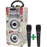 DYNASONIC - Altoparlante Bluetooth portatile per karaoke con microfoni inclusi | Lettore USB e SD, radio FM modello 025 (2 mi