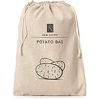 New Living Sac à pommes de terre en lin et coton   Produit écologique   Sac de rangement alimentaire   26 x 38 cm
