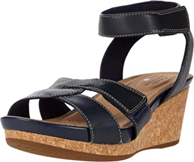 Clarks Un Capri Strap Navy Leather 11