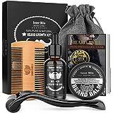 Beard Growth Kit, Beard Roller Kit for Beard & Mustache Facial Hair Growth, Stimulate, Promote with 100% Natural Beard Growth