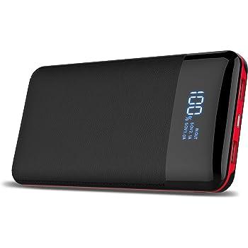 Caricabatterie portatile Power Bank 24000 mAh display digitale ad alta capacità Extenal battery pack per iPhone//8 x 8PLUS, iPad Samsung Galaxy S9/S8, tablet e più (rosso e nero)