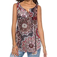 DEMO SHOW Damen Tunika Top Locker Langarm V Ausschnitt Knopfleiste Plissiert Floral Henley Shirt Bluse T Shirt