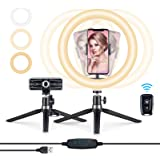 10.2'' LED Ring Light for Phone/Laptop/Video with Tripod Stand&Phone Holder&Bluetooth Remote,Selfie Ring Light That Supports