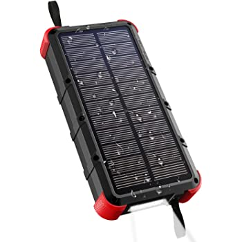 OUTXE Quick Charge Solar Charger 20000mAh Solar Power Bank Waterproof, Dual Input Ports (Type C & Micro USB)