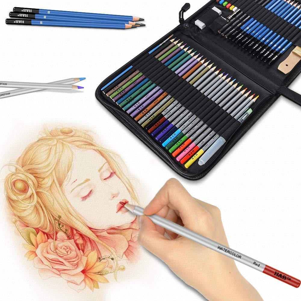 Lapices De Dibujo Artístico Lypumso Set De Lápices Colores Profesional Bosquejo Carbón Grafito Sticks Estuche Lápices De Color Conjunto Ideal Para