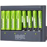 100% Peak Power batterij oplader U812 - Duurzame Keuze - USB batterijlader incl. oplaadbare batterijen NiMH batterij 4 x AA 2