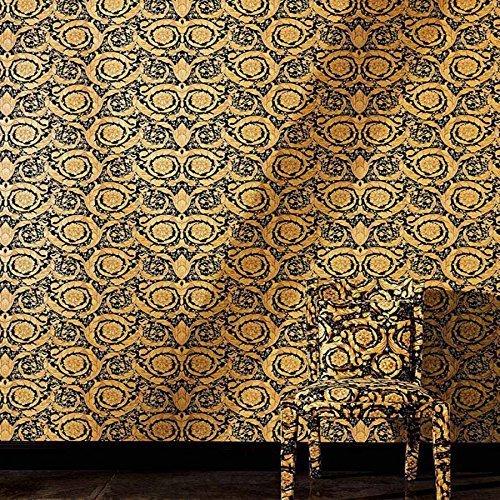 Versace 'Floreale Damascata' Carta Da Parati Disegnata Oro e nere - Rotolo Completo