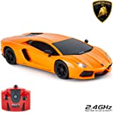 CMJ RC Cars ™ Lamborghini Aventador LP700-4 officiellt licensierade fjärrkontroll bil 1:24 Skala Working Lights 2,4 GHz (Oran