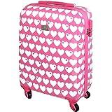 Hartschalen Reise Koffer Trolley Bordgepäck Kurzurlaub Handgepäck 30 Liter Rosa Herz 820