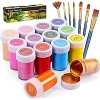 Set di Colori Acrilici per Dipingere, Gifort Set Pittura Acrilica Da 14 X 20 ML con 7 Pennellin, Non Tossico & Colori…