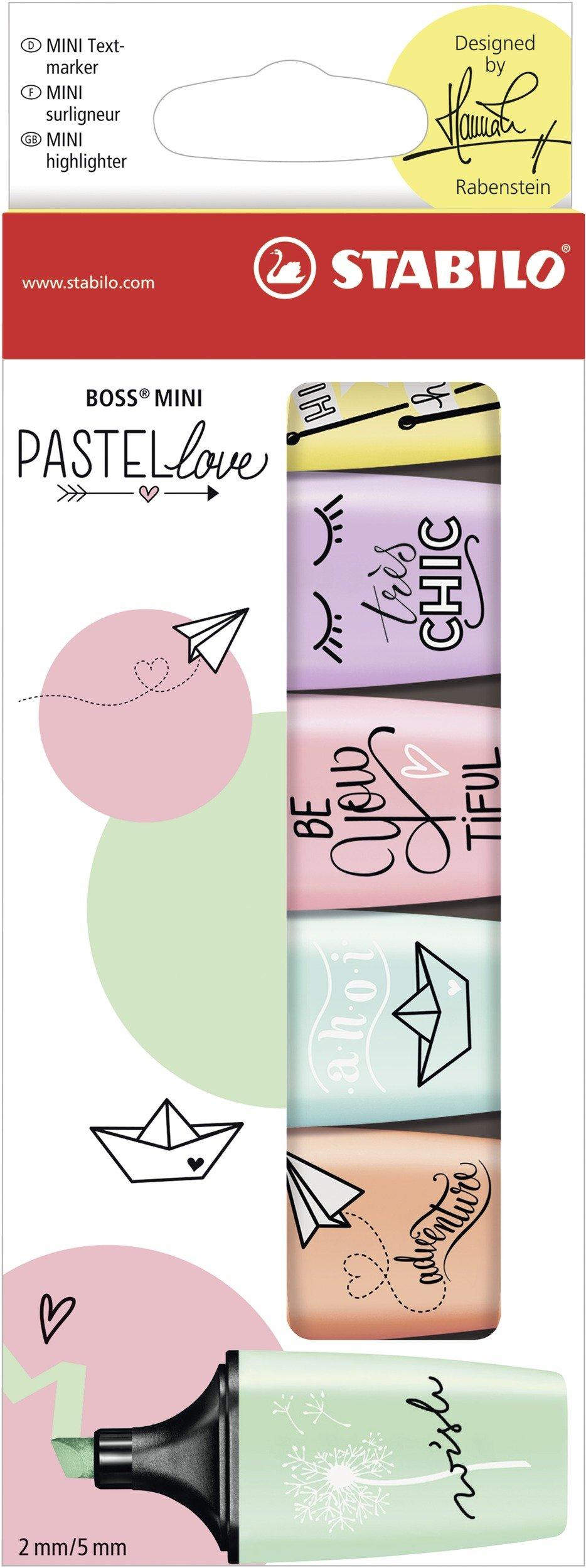 Marcador pastel STABILO BOSS mini – Edición Pastel Love – Estuche con 6 colores