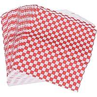 BESTONZON 100 Sheets Checkered Deli Basket Liner Kariertes Lebensmittel Wrapping Papers Fettbeständig Sandwich Hamburger…