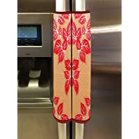 Heart Home Leaf Design PVC 2 Pieces Fridge/Refrigerator Handle Cover (Gold & Red) CTHH05393
